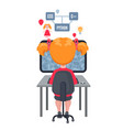 girl sitting at laptop and learning coding vector image vector image