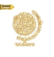 Gold glitter icon of globe isolated on vector image vector image