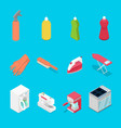 isometric housework objects with spray vector image