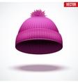 Knitted woolen cap Winter seasonal pink hat vector image vector image
