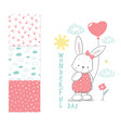 little rabbit with balloon surface design vector image vector image
