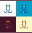 owl and clock logo and icon vector image
