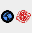 pie chart icon and scratched sales team vector image vector image
