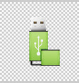realistic green usb flash drive isolated object vector image vector image