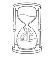 sand watch glass with man coloring vector image vector image