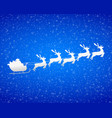 santa claus rides reindeer in a sleigh silhouette vector image vector image