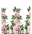 seamless border with pink roses leaves vector image vector image