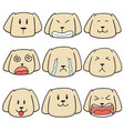 set dog face vector image vector image