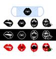 set funny mouth for medical masks vector image