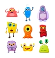 Set of cute monsters cartoon characters on white vector image