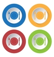 set of four icons - fork and knife with plate vector image vector image