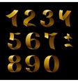 Set of isolated golden shining ribbon numbers on vector image