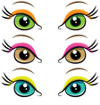 Set of pairs of eyes vector image vector image