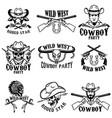 set wild west emblemscowboy weapon native vector image