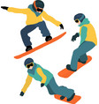 snowboarding set winter sport vector image vector image