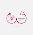 stethoscope and breast iconworld breast cancer vector image