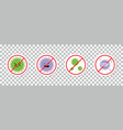 stickers icons with virus coronavirus characters vector image vector image