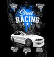 street racing poster design template vector image vector image
