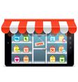 Tablet PC with Supermarket Concept vector image vector image