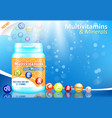 vitamin and mineral complex advertising vector image vector image
