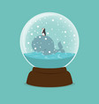 whale fish and penguin with crystal ball vector image vector image