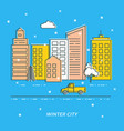 winter city card template in thin line vector image
