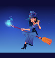 witch party cartoon poster halloween night vector image vector image