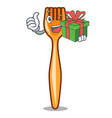 with gift plastic fork on use for mascot vector image