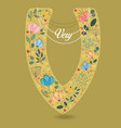 yellow letter v with floral decor and necklace vector image vector image