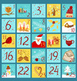 advent calendar in doodle style yellow and blue vector image vector image