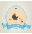 bashower invitation with flat stork flying vector image vector image