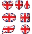 British Flag in various shape glossy button vector image vector image