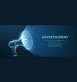 bullhorn abstract 3d megaphone on blue vector image