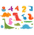 cartoon funny silhouettes of dinosaurs vector image