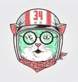 cat racer helmet 2 vector image vector image