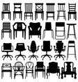 chair black silhouette set a set of chairs design vector image