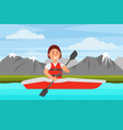 cheerful woman swimming by river on red kayak vector image vector image