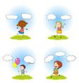 children and speech bubbles set vector image