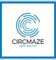 circle maze logotype - letter c logo vector image