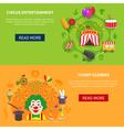 circus and clowns horizontal set banner vector image vector image