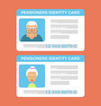 concept of pensioner id cardsgrandparents vector image vector image