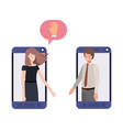 Couple business in smartphone with speech