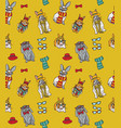 cute fashion hipster rabbits pets seamless pattern vector image vector image