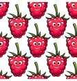 Cute ripe red raspberry seamless pattern vector image