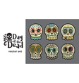 day of the dead skulls colorful set vector image vector image