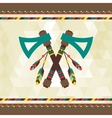 Ethnic background with tomahawk in navajo design vector image