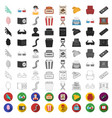 films and cinema cartoon icons in set collection vector image vector image