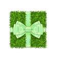 gift box 3d green grass box top view green vector image
