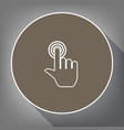 hand click on button white icon on brown vector image vector image