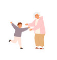 happy little boy running to hug glad to visit vector image vector image